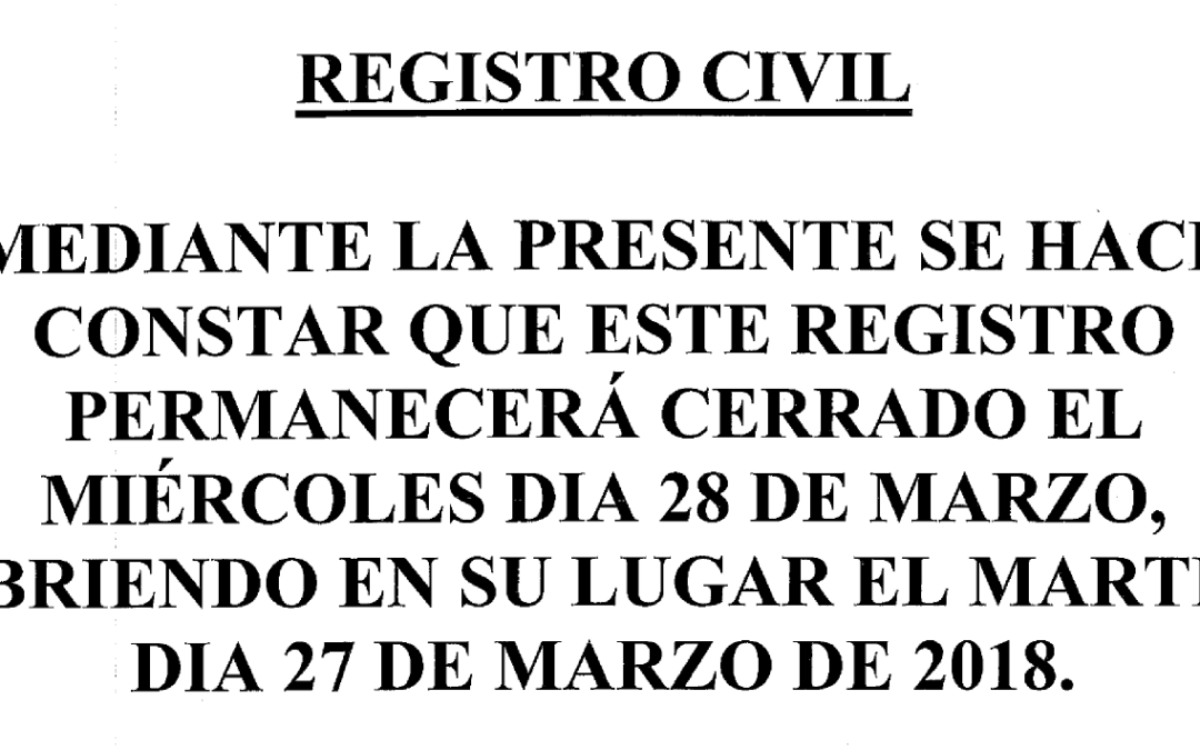 Aviso Registro Civil