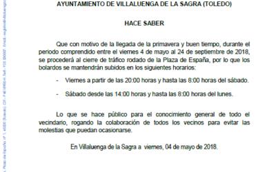 Bando – Corte tráfico en la Plaza de España