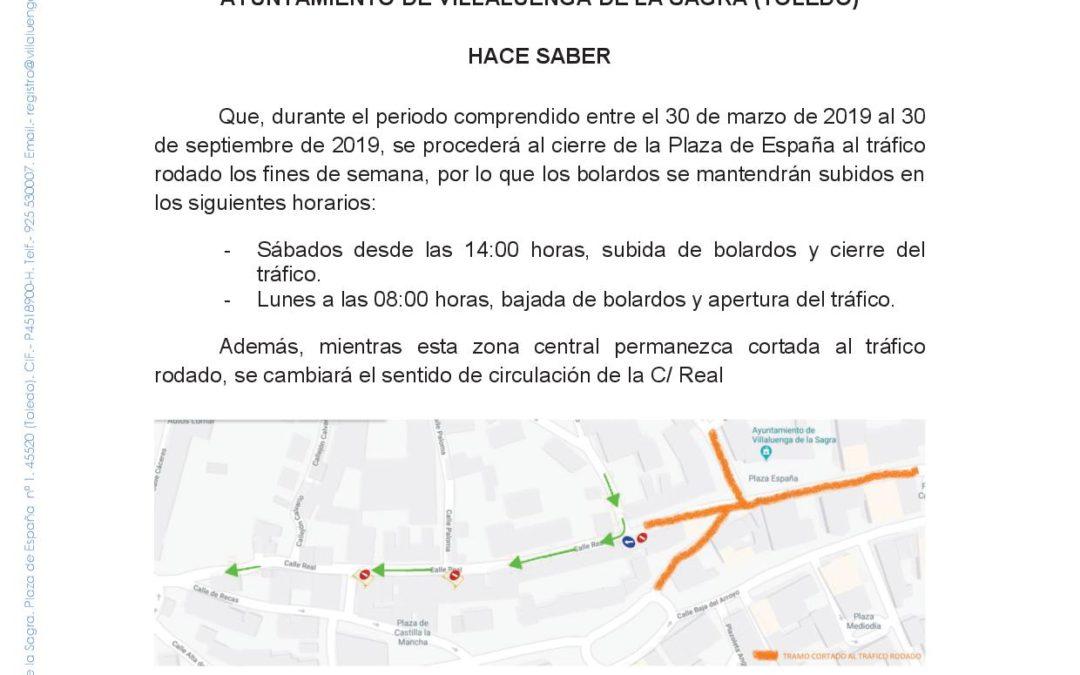 Corte tráfico Plaza de España