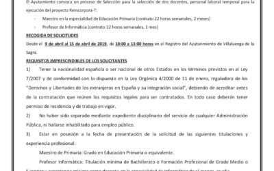 CONVOCATORIA DE PERSONAL: SELECCIÓN DE DOCENTES PROYECTO REINCORPORA-T
