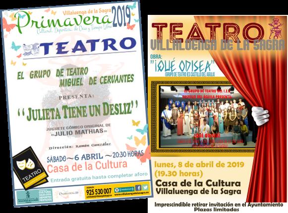 Teatro en Villaluenga 6 y 8 de abril