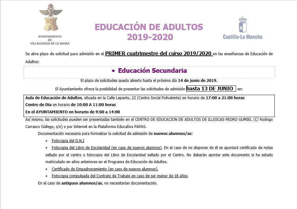 Educación de Adultos – curso 2019-2020