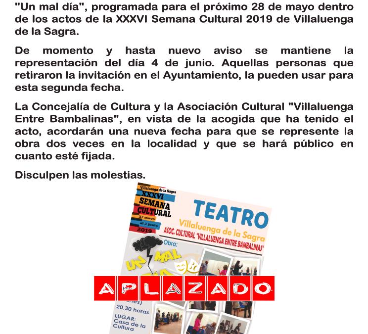 Acto suspendido en la XXXVI Semana Cultural 2019