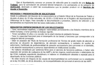 Bolsa de Trabajo – Auxiliar (Servicio de Ayuda a Domicilio)