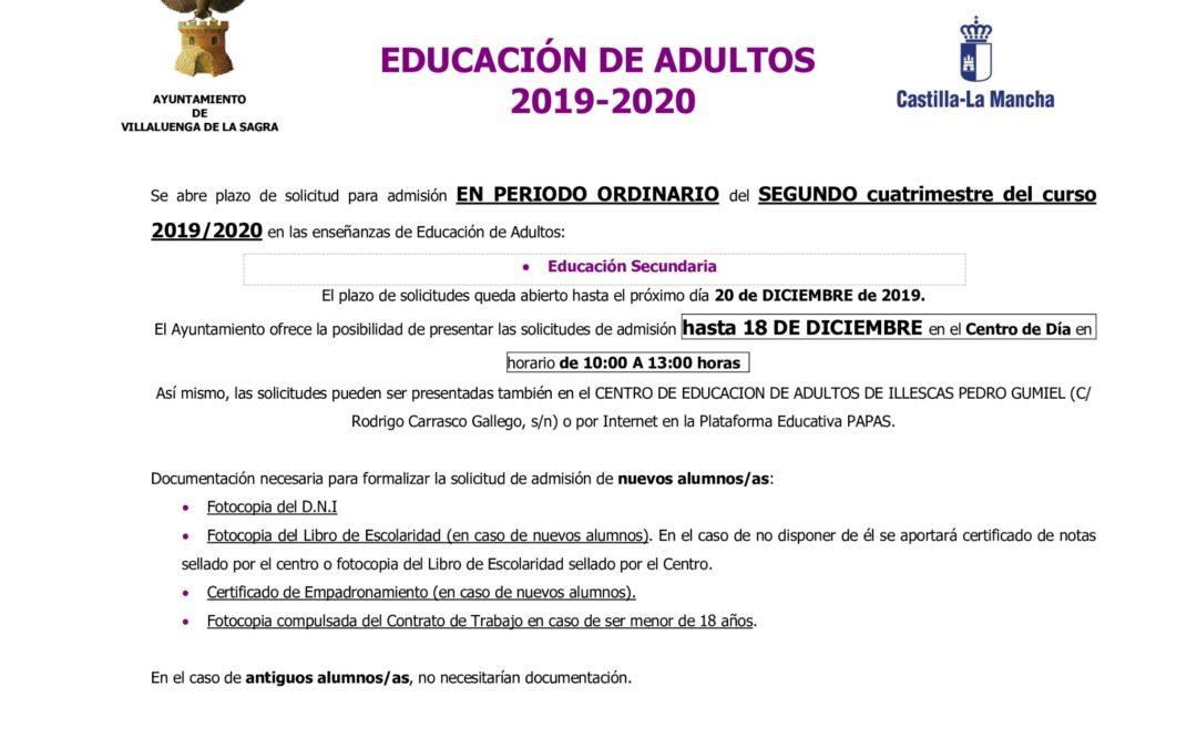 Plazo de solicitud admisión Educación de Adultos