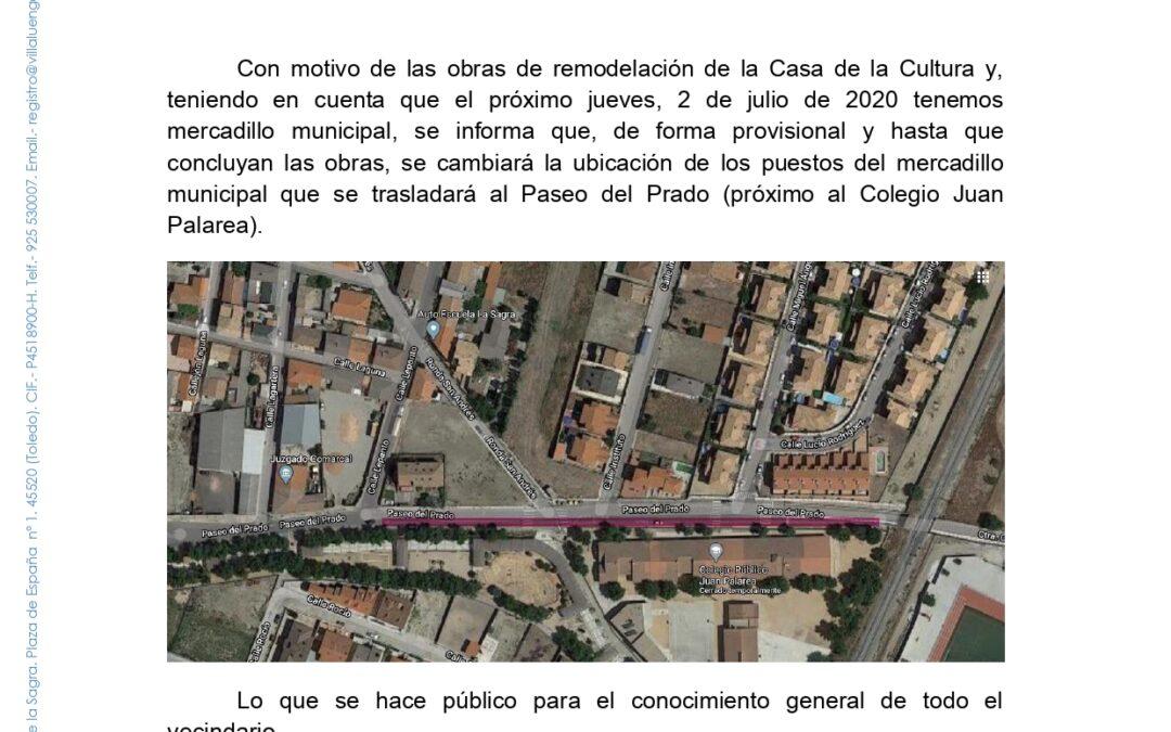 Mercadillo municipal – cambio de ubicación