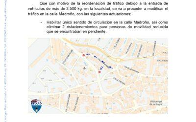 Cambio tráfico en calle Madroño
